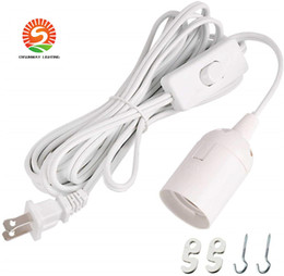 2019 extensor e27 Cable Cable de 12 pies de largo Extensión de la linterna de luz de lámpara colgante cable con interruptor on / off o interruptor de engranajes para E26 / E27 Bombillas Base