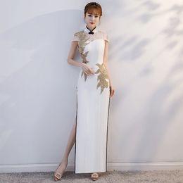 2019 vestidos de noite com colar de strass Gola mandarim Vestido Chinês Senhora Da Noiva Vestido De Casamento Apliques Bling Sexy Evening Vestido de Festa Oco Out Strass Vestidos vestidos de noite com colar de strass barato