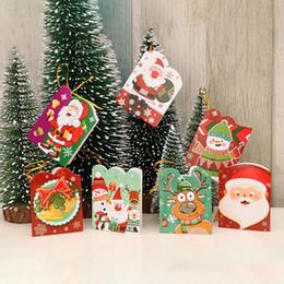 mensajes del arbol de navidad Rebajas 128pcs / lot Papá Noel mini tarjeta de felicitación tarjetas del mensaje de vacaciones de Navidad Bendición Tarjeta de ornamentos de navidad colgantes