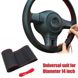 kit de dirección de coche Rebajas 36/38 cm cubierta de la dirección del coche diy cubiertas del volante Diseño de trenza de cuero suave con aguja y hilo interior Kits