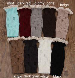 Damen spitzen socken online-Frauen Beinlinge Lace Knit Boot Socken Damen Mädchen Winter Manschette Häkeln Stricken Topper Knie Legging PPA62