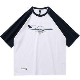 Camiseta de aviões on-line-2019 Homens Hip Hop Streetwear T Shirt Plana Bilhete de Impressão Harajuku T-Shirts Color Block Verão Tshirt de Algodão de Manga Curta Tops Tees