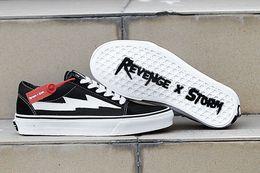 zapatos vulcanizados Rebajas Venta al por mayor NUEVA Revenge x Storm Sneakers Pop up Store Calidad superior Old SKool Off Fashion Grid Skateboard para hombre vulcanizado Ins zapatos de lona 2019