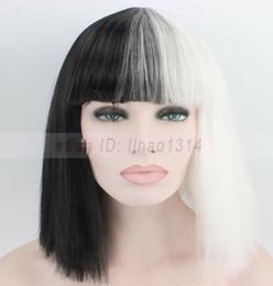dc111b4e5 2-6 Days Ship Halloween Wig Costume Party Straight Bob Half Black and Half  White white bob wig deals