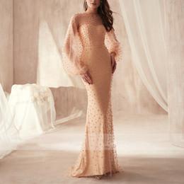 Argentina 2019 lujo naranja perlas vaina vestidos de baile mangas largas vestidos de fiesta palabra de longitud vestidos de noche cuello escarpado personalizado vestido de fiesta Suministro