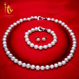 Echte perlenschmucksachen online-[Nymphe] Genuine Baroque Pearl Jewery Sets Natürliche Süßwasserperlen Halskette Armband Ohrringe 8-9mm Edlen Schmuck [t1010] J190628