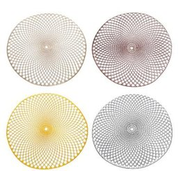 almofadas de vinil Desconto Pvc placemat para mesa de jantar de plástico rodada oco almofada de isolamento térmico coaster à prova d 'água antiderrapante tapetes de decoração para casa