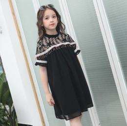 vêtements en gros pour adolescents Promotion En gros 2019 Été Nouvelle Marque De Mode Noir Dentelle Patchwork Robe Pour Abby Filles Enfants Perlant Robe Vêtements Adolescents Ws512