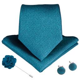Cravatte gemelli gemiti online-DiBanGu 15 Styles Blue Teal Cravatta da uomo Hanky Gemelli Spilla Set seta Uomo Cravatta 8cm Cravatta ampia da uomo Business Matrimonio formale