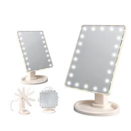 2019 luzes noturnas por atacado de elefantes 16/22 LED Make Up Espelho de Rotação de 360 Graus Tela Sensível Ao Toque Maquiagem Cosméticos Dobrável Com Luz LED Espelho de Maquiagem H4691
