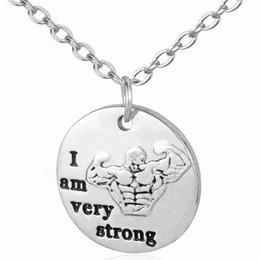 collar de crossfit Rebajas Entrenamiento collar colgante mensaje CrossFit Gimnasio soy muy fuerte joyería Cita encanto del collar de la mujer inspirada
