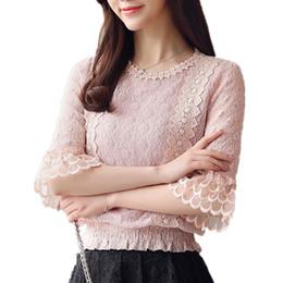73022ff457 la camicetta del merletto in stile coreano Sconti Camicetta di pizzo  camicetta delle donne 2019 estate