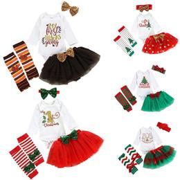 Tops de lantejoulas para o natal on-line-5 Estilos de graças Natal Meninas Outfits Crianças letra Impressão Romper Top + malha saia tutu + Bow lantejoulas com alça + Legging Meias 5pcs / set