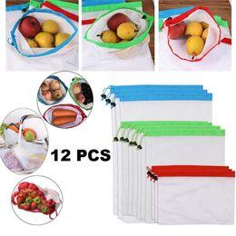 Bolsas de productos de malla reutilizables 12 piezas respetuosas con el medio ambiente para juguetes de frutas y verduras Bolsas con cordones para compras en el hogar Almacenamiento de comestibles desde fabricantes
