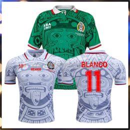 retrocesos de camisetas de fútbol Rebajas Mejor 1998 MEXICO Selección Nacional RETRO VINTAGE BLANCO Throwback Camisetas de fútbol clásicas 98 México Campos Hernandez Camiseta de fútbol Bordado