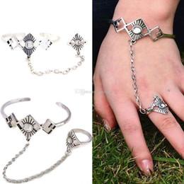 5pcs ethnique ouvert bracelets bohémien losange chaîne esclave bracelets cru style indien femmes bracelet en cristal bague ? partir de fabricateur
