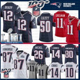 S cocinando online-12 Tom Brady New Patriots Jersey 87 Rob Gronkowski 11 Julian Edelman 50 N'Keal Harry Sony Michel Josh Gordon Cocina Amendola Super Bowl LIII
