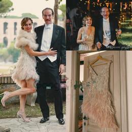 2019 gold gatsby kleider 1920er Jahre Vintage große Gatsby Short Country Brautkleider bescheidenen Jenny Packham V-Ausschnitt funkelnde Kristallfeder knielangen Brautkleider 320 günstig gold gatsby kleider