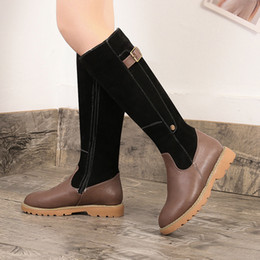 Scarpe invernali belle online-Vogue Stivali da donna Nice Winter Knee High Snow Boots Donna Casual Scarpe in pelle peluche casual Botines Mujer