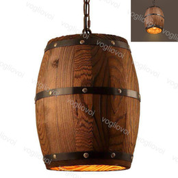 lampara moderna tom dixon Rebajas Lámparas pendientes de 110-220V 25CM 250MM del barril de vino de madera que cuelga del accesorio E27 Cafe barril lámpara barra café Luces Comedor DHL