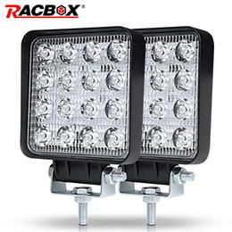 luz led led Desconto RACBOX 4 polegada 48 W Slim LED Luz de Trabalho Inundação Lâmpada de Condução para Lada Truck Trailer SUV Off Road Boat 12 V 24 V