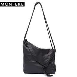 7a5e233d24b 2019 Fashion MONFERE Real Leather Vintage Lady Tote Bag Casual Design Large  Genuine Leather Handbags Ladies Tassel Messenger Cross body Bags