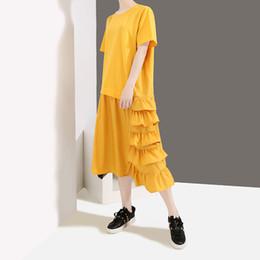 Nuovo 2019 stile coreano donna giallo nero estivo vestito da sole manica corta con volant al ginocchio signora vestito carino usura abito femm F255 da