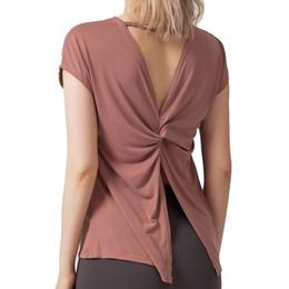 Señora de nylon genial online-Señoras espalda abierta suelta súper suave entrenamiento correr enfriamiento entrenamiento entrenamiento camiseta