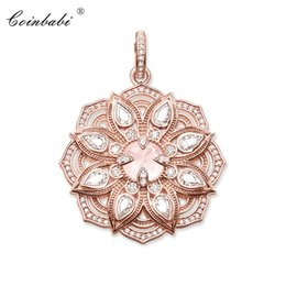 2021 oro del pendente del loto Ciondoli in oro rosa Colore Lotus 925 sterling silver per le donne regalo alla moda Thomas Style Glam Fashion Jewelry Fit Ts Collana