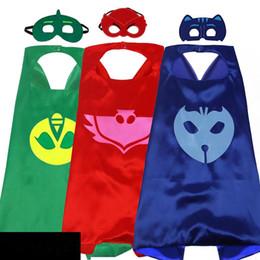 27 Inç PJ Kostüm Saten Superhero Cape çocuklar için Maske ile Çift Katmanlı çocuk Cadılar Bayramı cosplay parti hediyeler nereden kaftan elbiseler toptan satışı tedarikçiler