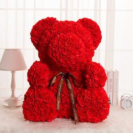 Bonecas de casamento feitas à mão on-line-Subiu Urso Bonecas PE Artificial Subiu Handmade Romântico Adorável Flor Amor Urso Brinquedo do Dia Dos Namorados Presente de casamento e diy 27 cm caixa 3