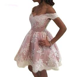 Abendkleider Off the Shoulder Mini Vestidos de Fiesta Vestidos de Imperio Vestido de Fiesta de Cóctel Corto Vestido de Fiesta Rosa desde fabricantes