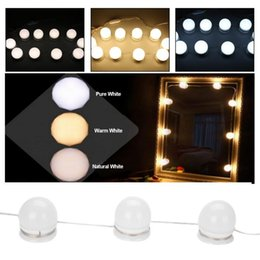 2019 луковицы тщеславия 10 LED Light Bulbs Lamp Vanity  Mirror 3Colors Brightness Dimmable Bulb String Hollywood Style Make up Cosmetic Mirror 1 дешево луковицы тщеславия