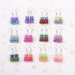 1pair Fashion Craft resina glitter colorato orsetto Gummy orecchini a goccia per le donne Giappone / coreano gioielli di moda all'ingrosso da