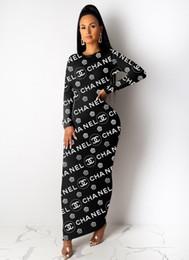 novo vestido maxi design Desconto Novo design multi estilo mulheres tripulação colar Carta Imprimir vestido de Maxi moda outono casuais Bodycon vestido de festa vestido simples e elegante