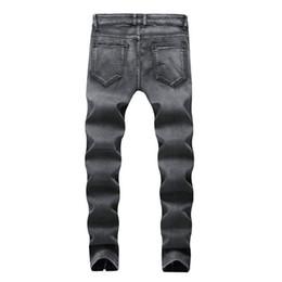 2019 falten-jeans 2019 neue Art und Weise gebrochenes Loch-Knicken-Jeans-Mann-Reißverschluss-Art beiläufige elastische Jeans-Mann-beiläufige Männer gerades klassisches Schwarzes rabatt falten-jeans