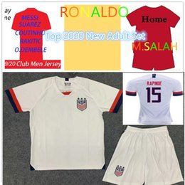 Establecer camisetas de fútbol online-2019 2020 TOP Adult New Set white soccer jersey camisetas de fútbol football mens designer t shirts camiseta de fútbol maillot de foot