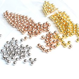 2019 bijoux tropicaux en gros 100pcs véritables perles rondes en argent sterling 925 - pour DIY Handmade Bracelet Making Making Jewelry 3 couleur (platine, or rose, or)