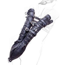 bondage harnais ceinture en cuir noir main long poignets poignets contention sacs bdsm fétiche esclave torture jeux érotiques produits pour femme ? partir de fabricateur