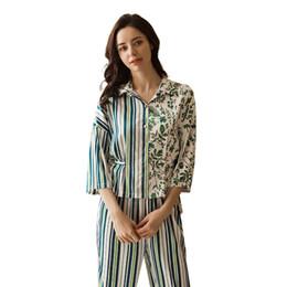 Imiter Réel Soie Fine Section Pyjamas Femme À Rayures De Mode Sept Partie Manches Longues Pantalon Twinset Vêtements De Nuit ? partir de fabricateur