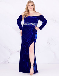 pick shirt Coupons - Fashion Long Sleeves Prom Dress Evening Gowns 2019 Plus size Off the shoulder Side Splits Royal Blue Plus Size Special Occasion Dresses