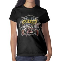 rosas a granel Rebajas Guns-N'-Roses-Skull-Eyes Camiseta para mujer Camisas negras Camisetas personalizadas Camiseta Cool Esign Crazy Bulk Negro