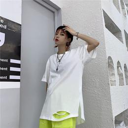 2019 vintages lochhemd Lose übergroße Frauen / Männer Split Hole Vintage Solid Weiß Schwarz Streetwear Harajuku Top T-Shirt Koreanisch Casual T-Shirt Punk Hiphop günstig vintages lochhemd