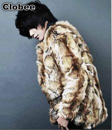 2019 uomini blazer collari di pelliccia Plus Size Leopard Print Coat 2020 inverno degli uomini del cappotto Casaco Masculino lungo caldo stile vintage in pelliccia Outwear X721