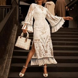 Broderie florale élégante en Ligne-Élégant Lourde Broderie Gland Robes Femme Flare Manches Taille Haute Côté Robe De Soirée Split Femmes 2019 Printemps