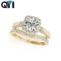anillos de boda de diamantes amarillo conjuntos Rebajas QYI 10K Conjuntos de anillos de boda Halo de corte redondo 1ct Sona diamantes simulados Sólido para mujer 10 K Anillos de boda de compromiso de oro amarillo
