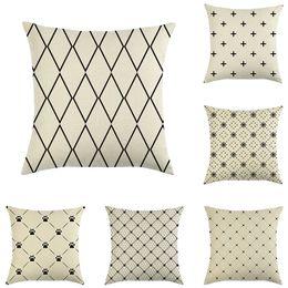 Almohadas de tiro negro para el sofá online-45 cm * 45 cm simple línea negra geometría de lino / algodón fundas de almohada sofá funda de cojín hogar decorativo almohada