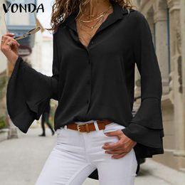 2f3a52402e0a14 2019 VONDA Vintage OL Office Shirt Women Blouses Sexy Lapel Long Ruffle  Sleeve White Blouse Plus Size Blusas Casual Ladies Tops