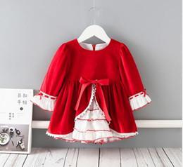 2020 4t rotes ballettröckchen Baby-Mädchen-Designer-Kleidung Kleid Spanien Art Boutique Lange Hülse O-Ansatz Big Red Velet Spitze Prinzessin Kleid-Kleidung-Kleid günstig 4t rotes ballettröckchen