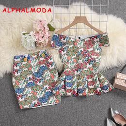 gonna verde peplum Sconti ALPHALMODA 2019 Summer Women Bandage Crop Top Gonna 2pcs Set Floral stampato elastico Peplo Fit Jacket Mini Gonna Tute sexy